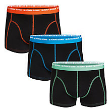 Buy Bjorn Borg Small Logo Contrast Waistband Trunks, Pack Of 3, Black Online at johnlewis.com