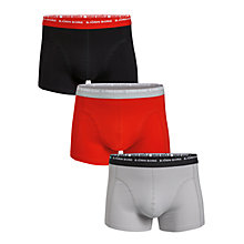 Buy Bjorn Borg Small Logo Contrast Waistband Trunks, Pack Of 3, Grey/Black/Red Online at johnlewis.com