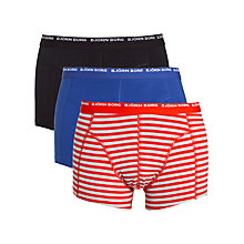 Buy Bjorn Borg Logo Stripe Trunks, Pack of 3, Red/Blue/Black Online at johnlewis.com