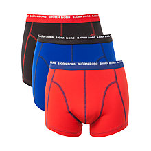 Buy Bjorn Borg Contrast Waistband Logo Trunks, Pack Of 3, Black/Red/Blue Online at johnlewis.com