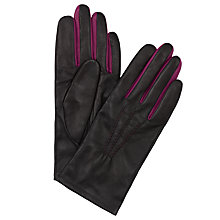 Buy John Lewis Two Tone Leather Gloves, Black / Pink Online at johnlewis.com