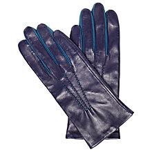 Buy John Lewis Leather Two Tone Gloves, Navy/Teal Online at johnlewis.com