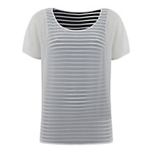 Buy Mint Velvet Stripe Double Layer T-Shirt, Cream Online at johnlewis.com