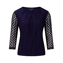 Buy Viyella Crochet Jersey Top, Ink Online at johnlewis.com