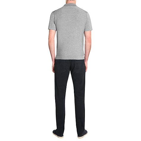 Buy Jigsaw Pima Cotton Knit Polo Shirt, Silver Melange Online at johnlewis.com