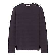 Buy Jigsaw Textured Stripe Jumper, Navy Online at johnlewis.com
