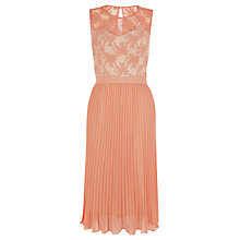 Buy Warehouse Mesh Bodice Pleat Skirt Dress, Coral Online at johnlewis.com