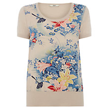 Buy Oasis Floral Print Megan Top, Neutral Blue Online at johnlewis.com