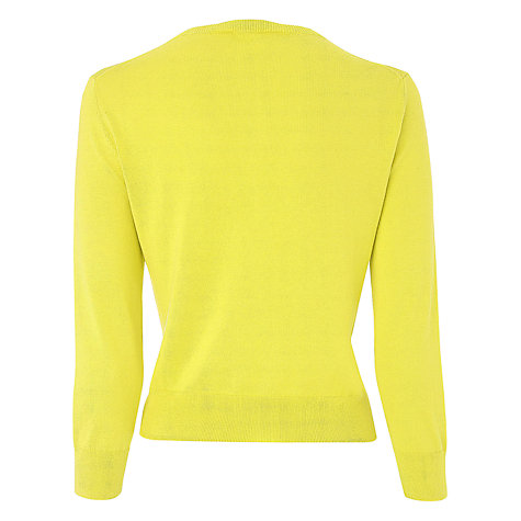 Buy L.K. Bennett Crew Neck Bibi Cardigan, Lime Online at johnlewis.com
