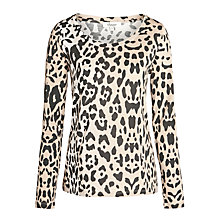 Buy Somerset by Alice Temperley Animal Scoop Jersey Top, Camel Online at johnlewis.com