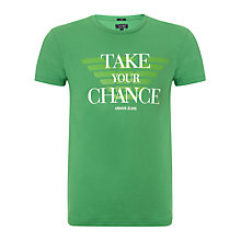Buy Armani Jeans Take Your Chance T-Shirt, Green Online at johnlewis.com