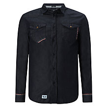 Buy Armani Jeans Chambray Selvedge Long Sleeve Shirt, Black Online at johnlewis.com