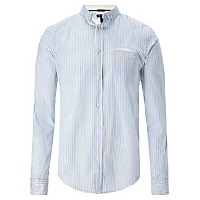 Buy Armani Jeans Thin Stripe Long Sleeve Shirt, Blue/White Online at johnlewis.com