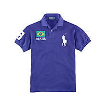 Buy Polo Ralph Lauren Brazil Country Custom Fit Polo Shirt, Blue Online at johnlewis.com