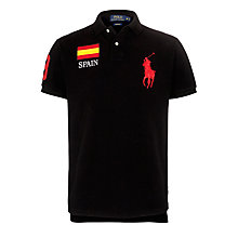Buy Polo Ralph Lauren Spain Custom Fit Polo Shirt, Black Online at johnlewis.com