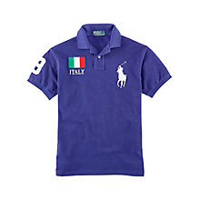 Buy Polo Ralph Lauren Italy Country Custom Fit Polo Shirt, Blue Online at johnlewis.com
