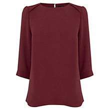 Buy Oasis Drape Sleeve Top, Maroon Online at johnlewis.com