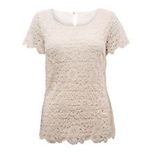 Buy East Floral Lace Top, Pearl Online at johnlewis.com