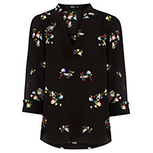 Buy Oasis Floral Print Shirt, Black Multi Online at johnlewis.com