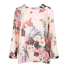 Buy Ted Baker Anina Oil Painting Floral Top, Nude Pink Online at johnlewis.com