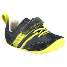 Buy Clarks Childrens' Tiny Tye Trainers, Denim/Yellow Online at johnlewis.com