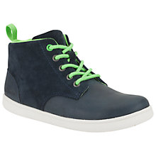 Buy Clarks Children's Holbay Hi-Top Trainers, Navy/Green Online at johnlewis.com
