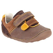Buy Clarks Tiny Twin Rip-Tape Strap Shoes, Brown Online at johnlewis.com