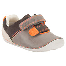 Buy Clarks Tiny Seb Leather Rip-Tape Shoes, Grey/Orange Online at johnlewis.com