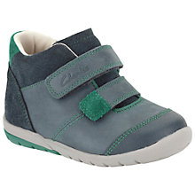 Buy Clarks Children's Soft Joe Trainers, Grey/Green Online at johnlewis.com