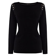 Buy Coast Rioja Embellished Knit Top, Black Online at johnlewis.com
