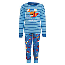 Buy Hatley Boys' Stripe Ocean Print Pyjamas, Blue Online at johnlewis.com