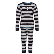 Buy Hatley Boys' Stripe Cotton Pyjamas, Navy/Grey Online at johnlewis.com