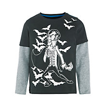Buy John Lewis Boy Vampire Print Layered Sleeve T-Shirt, Grey Online at johnlewis.com