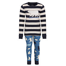 Buy Hatley Boys' Polar Bear Stripe Pyjamas, Blue Online at johnlewis.com
