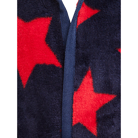 Buy John Lewis Boy Star Print Fleece Robe, Navy/Red Online at johnlewis.com