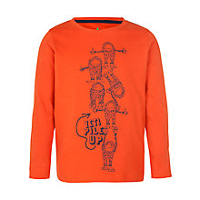 Buy John Lewis Boy Yetti Long Sleeve Top, Orange/Blue Online at johnlewis.com