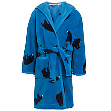 Buy John Lewis Boy Bear Print Fleece Robe, Blue Online at johnlewis.com