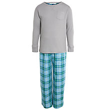 Buy John Lewis Boy Waffle/Check Pyjamas, Grey/Green Online at johnlewis.com