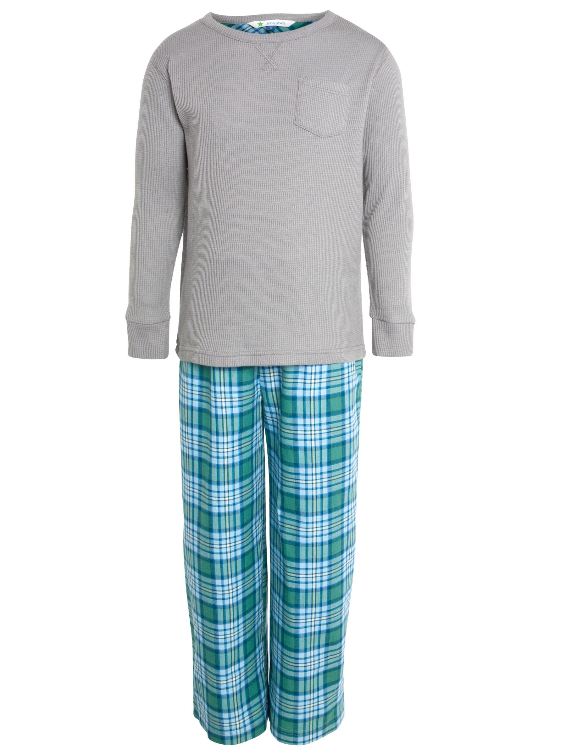 John Lewis Boy Waffle/Check Pyjamas, Grey/Green