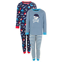 Buy John Lewis Boy Skull and Crossbone Pyjamas, Pack of 2, Blue Online at johnlewis.com