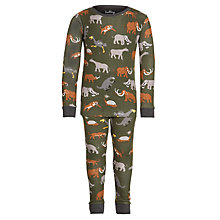 Buy Hatley Boys' Extinct Animal Print Pyjamas, Khaki Online at johnlewis.com