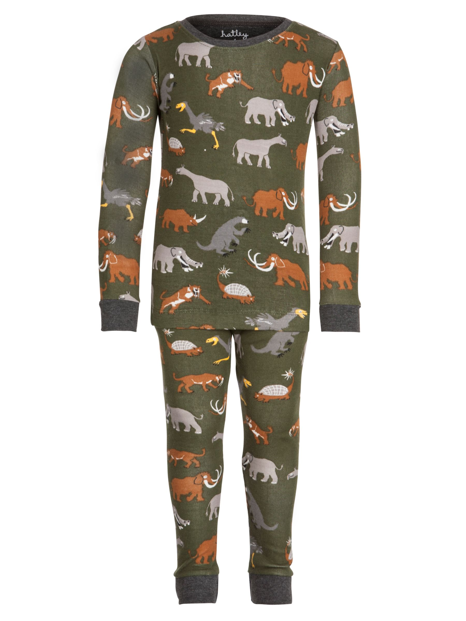 Hatley Boys' Extinct Animal Print Pyjamas, Khaki