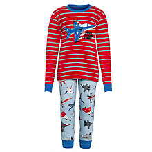 Buy Hatley Boys' 'Just Plane Tired' Pyjamas, Red/Blue Online at johnlewis.com