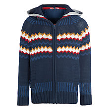 Buy John Lewis Boy Zigzag Zip-Through Jumper, Navy Online at johnlewis.com