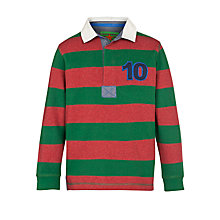 Buy John Lewis Boy Long Sleeved Stripe Rugby Shirt , Red/Green Online at johnlewis.com