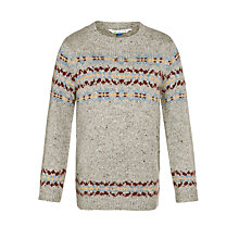 Buy John Lewis Boy Fair Isle Crew Neck Jumper, Grey Online at johnlewis.com