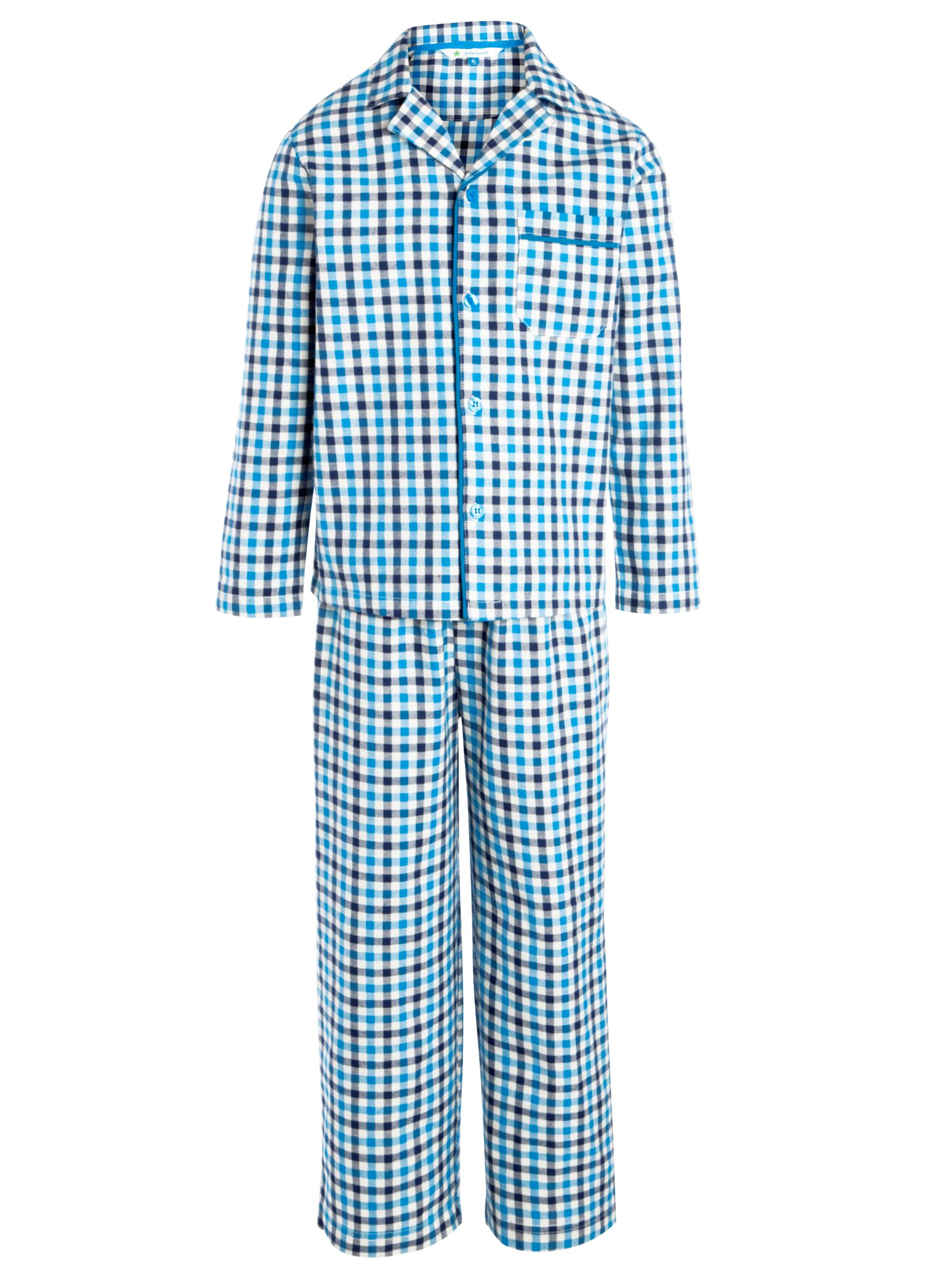 John Lewis Boy Check Pyjamas, Blue
