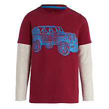 Buy John Lewis Boy Jeep Print Layered Sleeve T-Shirt, Burgundy Online at johnlewis.com