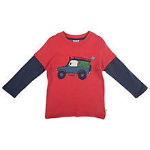Buy Frugi Offroad Appliqué Long Sleeve Top, Red/Navy Online at johnlewis.com