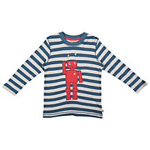 Buy Frugi Robot Stripe Long Sleeve Top, Teal Online at johnlewis.com